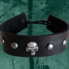 Skull leather choker