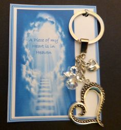 A Piece of my Heart is in Heaven Remembrance Sympathy Keepsake Key Ring Gift Crystal Guardian Angel Large Heart & Tiny Heart with hole in it Remembrance Gifts, Tiny Heart, Organza Gift Bags, Piece Of Me, Key Rings, My Design, Heaven, Angel, Messages