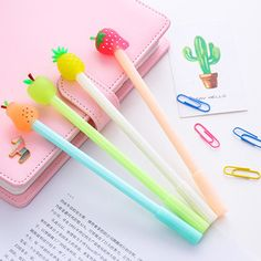 1 PCS New Cute Fresh Fruit Pineapple Apple Pen Creative Gel Pens Signing Pen For Kids Novelty Gift Stationery School Supplies Stationery Pens, School Stationery, Kawaii Stationery, Kawaii Fruit, School Suplies, Cool School Supplies, Cute Stationary School Supplies, Office Supplies, Kawaii Pens