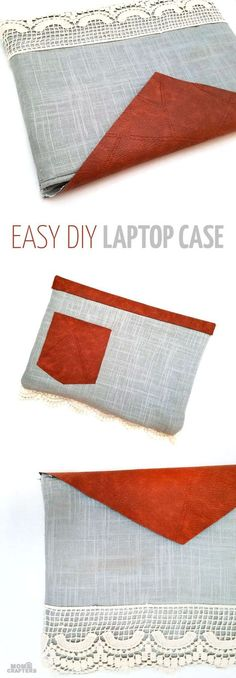 Make an easy DIY laptop sleeve - this quick and easy sewing tutorial for a laptop or tablet case has beautiful linen and leatherette detail! The leather gives it a bright touch, the lace makes it a bit feminine. You'll love it! No pattern needed - fits wi