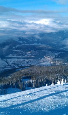 Looking down onto Revelstoke BC from the Highest lift serviced vertical drop in North America. Just over 5600 Feet.