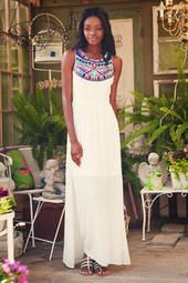 Damietta Embroidered Maxi Dress- Love the tribal look and since it's white it always makes you look tanner (: perfect for summer!!!!