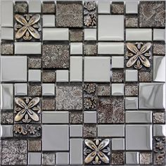 Silver glass tile mosaic shower wall designs plated craftsman brown crystal glass tile patterns for kitchen backsplash ideas Size: Color: Silver and Brown; Shape: Square and Rectangle; Glass Mosaic Tile Backsplash, Stone Mosaic Tile, Mosaic Glass, Glass Tiles, Tile Mosaics, Backsplash Ideas, Kitchen Wall Tiles Design, Kitchen Tiles, Glass Kitchen