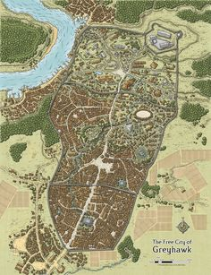 This iconic map of the fantasy metropolis of Greyhawk was originally commissioned for the Dungeons and Dragons adventure Expedition to the Ruins of Greyhawk, written by Erik Mona Fantasy City Map, Fantasy World Map, Fantasy Places, Dungeons And Dragons, Plan Ville, Imaginary Maps, Village Map, Rpg Map, Map Layout
