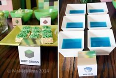 Boy's Minecraft Birthday Party Food Ideas www.spaceshipsandlaserbeams.com