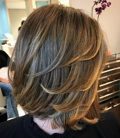 Bob Hairstyle With Swoopy Layers - March 02 2019 at Medium Hair Cuts, Short Hair Cuts, Medium Hair Styles, Short Hair Styles, Mid Length Hair, Shoulder Length Hair, Neck Length Hair Cuts, Bob Hairstyles, Straight Hairstyles