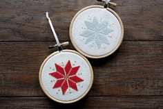 Embroidery Cross Stitches Nordic/Scandinavian Cross Stitch Christmas Star by CabinFeverGoods - Cross Stitch Christmas Ornaments, Xmas Cross Stitch, Cross Stitch Fabric, Christmas Embroidery, Christmas Knitting, Christmas Cross, Cross Stitching, Cross Stitch Embroidery, Star Ornament