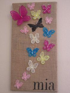 DIY Burlap Crafts: DIY Stenciled Butterfly Wall Art