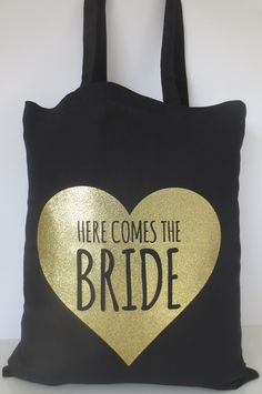 Wedding Tote Bag, Here Comes The Bride Tote Bag, Hen Party Tote Bag, Bride to Be Tote Bag