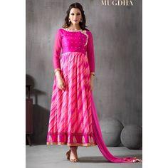 Beautiful Diamond Work Silk Chiffon Print & Georgette Pink Anarkali Suit -  10020 ( 663 )
