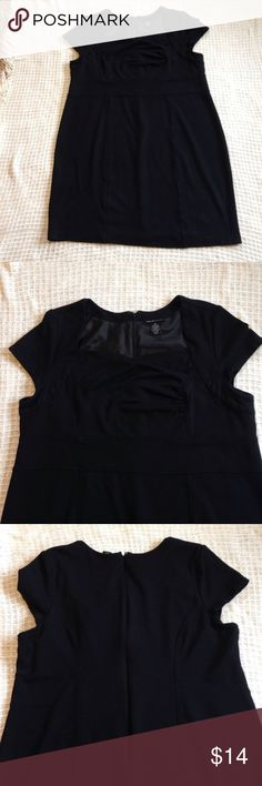 Lane Bryant Size 20 Black Dress Perfect classic piece!  Black dress with cap sleeves.  Soft and stretchy with a flattering bust line.  Back zippers.  Size 20 no stains or tears.  A few lifted strings on the bust as pictured.  I've worn recently and didn't notice them at all.  Only found when inspecting throughly for Posh listing. Lane Bryant Dresses Midi