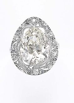 An Edwardian Diamond Ring Pear shape diamond 7.29 carats