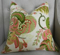 """Schumacher Clarendon Linen print in orchard - 18""""X18"""" - Pattern on the front"""