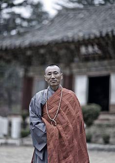Buddhist monk in Kaesin Sa temple - Mount Chilbo North Korea