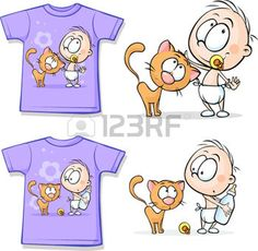 Shirt with Cute Baby and cat - vector illustration