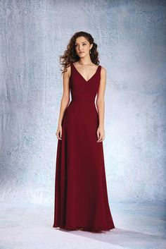 3e8957d245b Alfred Angelo Bridesmaids 7359L Floor length chiffon gown with a V-shaped  neckline
