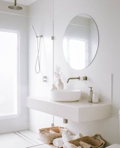 """ABI Bathrooms & Interiors on Instagram: """"We fall in love all over again with white bathrooms every time we see one. 🥰  @cabariad 's all-white bathroom presents classic, clean,…"""" All White Bathroom, Natural Bathroom, Small Bathroom, White Bathrooms, Bathroom Renos, Laundry In Bathroom, Minimalist Bathroom, Beautiful Bathrooms, Bathroom Interior Design"""