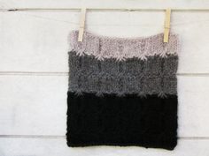 Chunky Ombre Cowl  black dark and light grey  by theYarnKitchen, $72.00