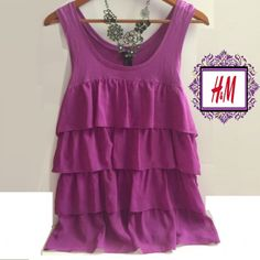 Darling H&M Sleeveless Deep Lavender Ruffle Blouse Darling H&M Sleeveless Dark Lavender Ruffle Blouse.  Ruffles on the Back & Front as pictured ⭐️Entire Closet is Buy One Get One Free⭐️ H&M Tops Blouses