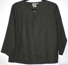HOT COTTON Blouse Black Linen Tunic Boho 3/4 Sleeves Solid Marc Ware Shirt Top M #HotCotton #Blouse #Versatile