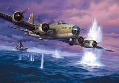 Pinturas Aviación II Guerra Mundial — 1942 B-17 ataca acorazado ...