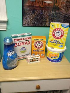 How to Make Your Own Laundry Detergent for $.06 a Load  1 box of Borax (4lb 12oz)  4 bars of Fels Naphtha (5.5oz each)  1 box of Arm & Hammer Super Washing Soda (3lb 7oz)  2 boxes of Arm & Hammer Baking Soda (2lb each)  3 Pounds oxygen cleaner (optional but highly recommended)  1 (or 2) bottles of Purex Crystals (55oz, optional)  1 big bucket with a tight lid