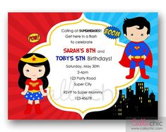 Superman & Wonder Woman Birthday Invitation PRINTABLE by CallaChic