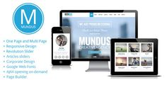 Mundus - A Business One Page WordPress Theme • Download theme ➝…