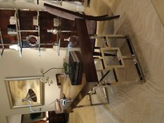 Lexington Furniture's Rogers Writing Desk is the perfect desk for home or office.  Legs are polished stainless steel.  Be still my heart...    Lexington Furniture Showroom  Mirage Collection-Rogers Desk  #HPMkt