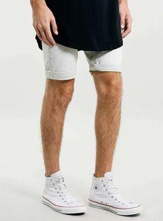 Topman | Light Grey Skinny Denim Shorts #topman #denim #shorts