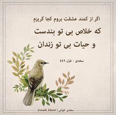 که خلاص بیتو بند است حیات بیتو زندان #سعدی_جان  ☘️