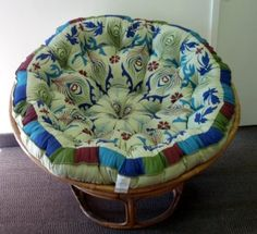 Amazon.com: Peacock Papasan Purple - Overstuffed Chair Cushion - Sink into our super comfortable Papasan cushion - Oversized 54 inches round - by Cotton Craft - Brilliant color print on a pure 100% Cotton duck fabric - Choose from Peacock Sage, Peacock Blue, Peacock Purple - perfect fit for your dorm, den or just about anywhere you want to be comfy - Chair not included: Home & Kitchen