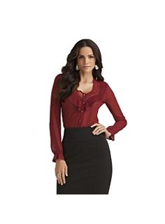 Kardashian Kollection Women's Pleated Sheer Blouse