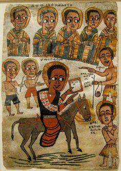 Sacred Worship, Ethiopian Art, painted vellum, end 17th century