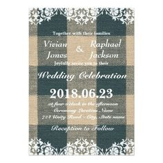 Elegant Lace and Linen Wedding Invitation