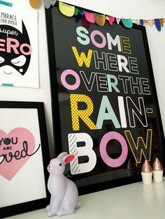 Somewhere Over The Rainbow Wall Art Print Decor by spunkandheart