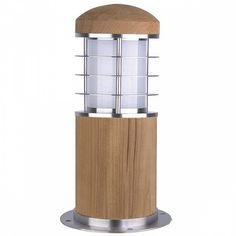 Outdoor Mini Bollard In Teak & Stainless Steel by Washington Lighting