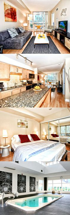 These Toronto serviced apartments are a ten minute walk from Union railway/metro station and a five minute walk from the nearest light railway station. Here are Element Apartments, Centre, Toronto