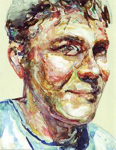 "Veronika July, Portrait of Nik, watercolour on paper, 5"" x 7""."