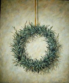 Στεφάνι από ελιά – Χαραυγή Magnolia Flower, Olive Tree, Decoupage, Christmas Wreaths, Diy And Crafts, Canvas, Holiday Decor, Drawings, Artist