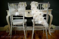 Bridal Flower Cascade Chair Sash  New Design by DelaDesignStudio, £58.99