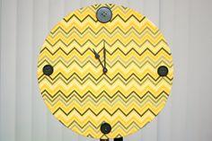 Chevron Pattern Yellow and Black Clock by OhFerCuteCrafts on Etsy