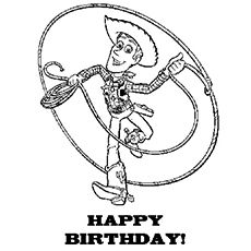 The Woody Wishes Happy Birthday Coloring Page