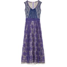 Gregory Parkinson: Corded Cotton Lace Draped Long Dress (7.805 BRL) ❤ liked on Polyvore featuring dresses, ruched dress, long dresses, drape dress, lace dress and blue sleeveless dress