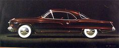 """Ref#278 Date:circa 1950 Artist:Virgil Exner, signed """"V. Exner"""" Make:Studebaker Model:Hardtop coupe Type:Conceptual rendering Medium:Gouache and colored pencil on paper Size:9.5 x 22 Title:""""Proposal #4"""""""