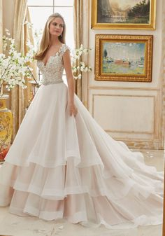 5fa4f37183cd Vintage Embroidery Trimmed with Crystal Moonstone Beading on Tiered Organza Morilee  Bridal Wedding Dress