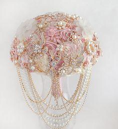 Broche ramo bouquet de bodas ramo de Blush rosado marfil