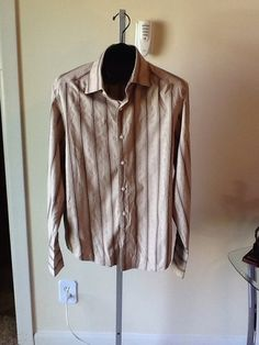Claiborne Luxe Silk/Cotton Raised Design Button Front French Cuff Shirt Sz L