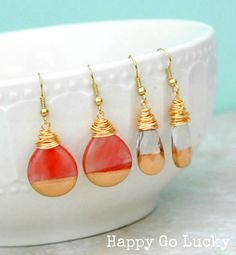 Gold Dipped Teardrop Earrings Tutorial