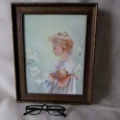Lovely Hand Painted Porcelain Plaque of a Girl and Her Doll